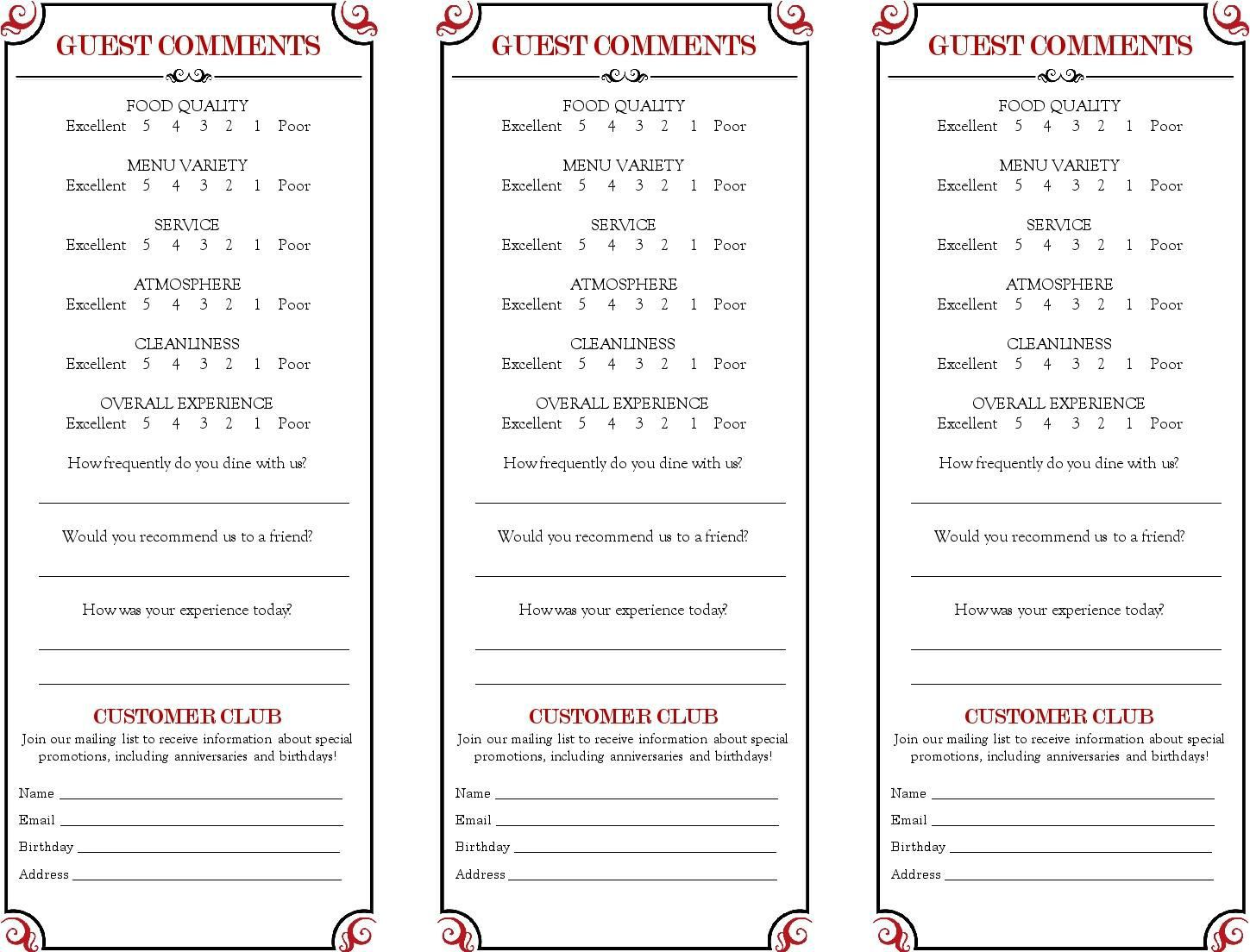 009 Awesome Restaurant Customer Comment Card Template Example  For Word FreeFull