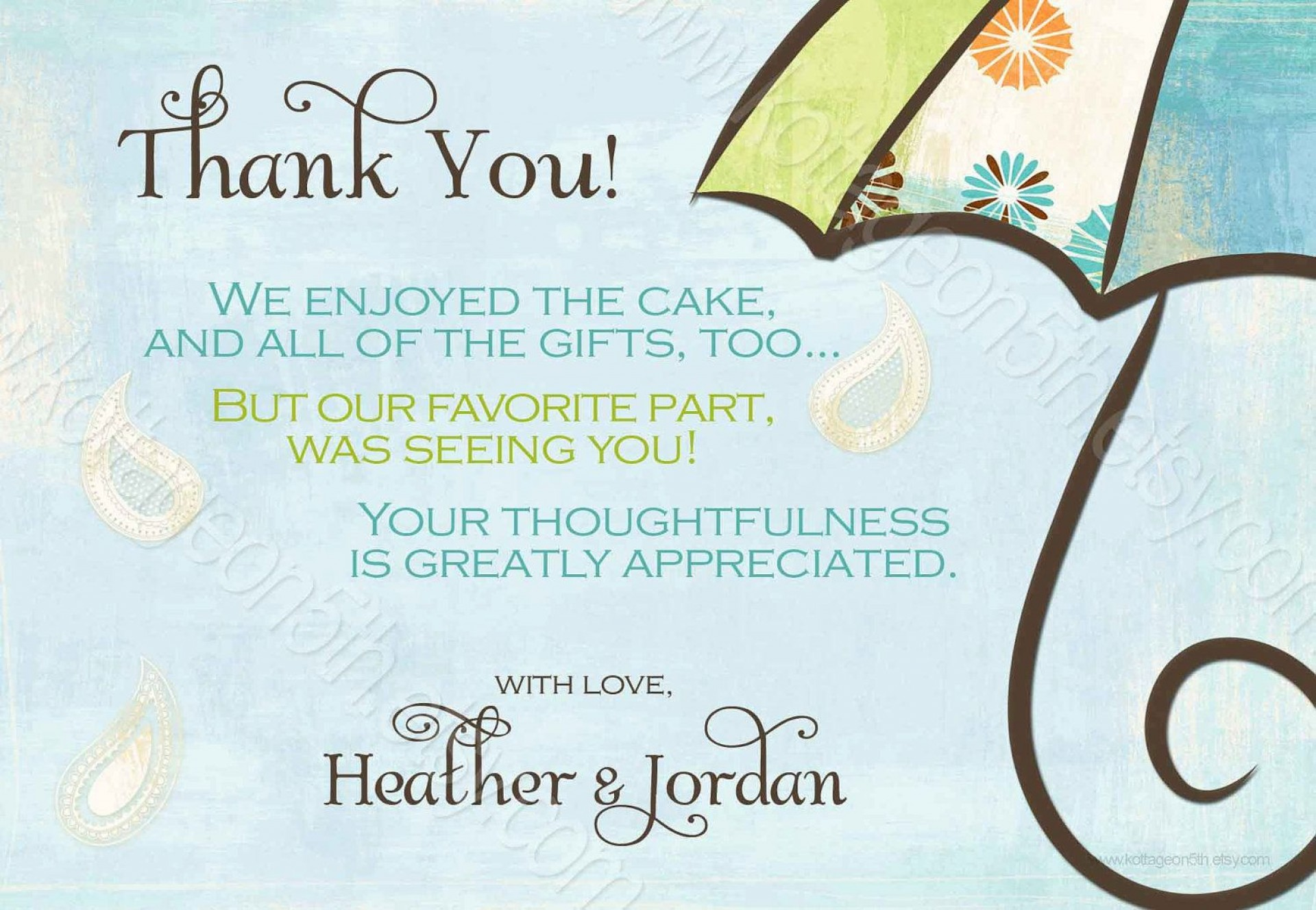 009 Awesome Thank You Note Template Baby Shower Sample  Card Free For Letter Gift1920