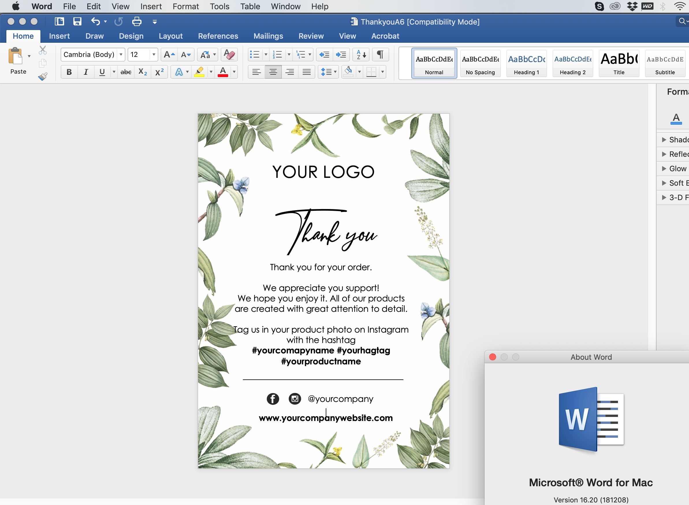 009 Awesome Thank You Note Template Microsoft Word High Resolution  Card Free Funeral LetterFull