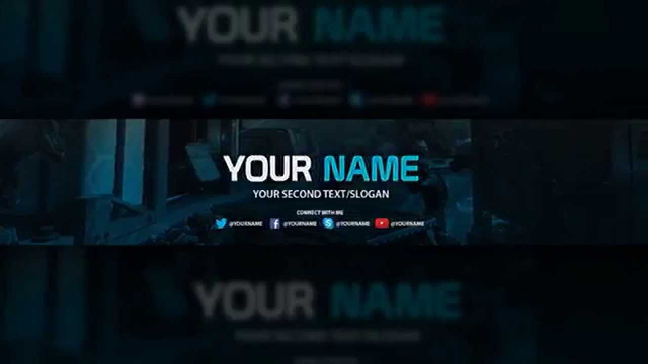 009 Awesome Youtube Channel Art Template Photoshop Download Idea Full