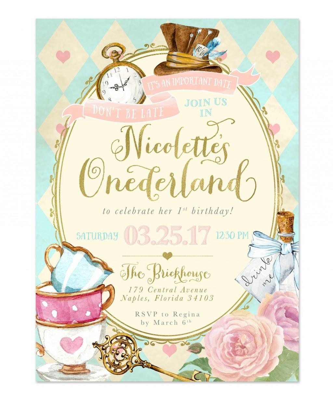 009 Awful Alice In Wonderland Birthday Party Invitation Printable Free Image Large
