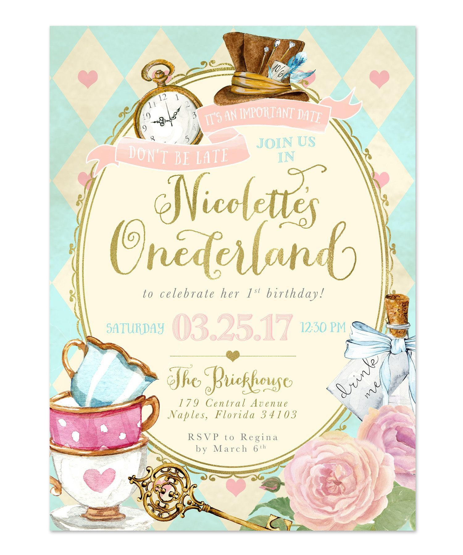 009 Awful Alice In Wonderland Birthday Party Invitation Printable Free Image Full