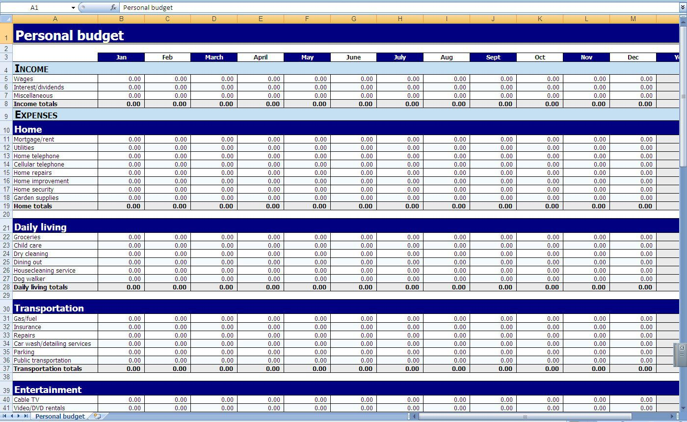 009 Awful Excel Monthly Bill Template High Definition  Expense Budget With Due Date Planner UkFull