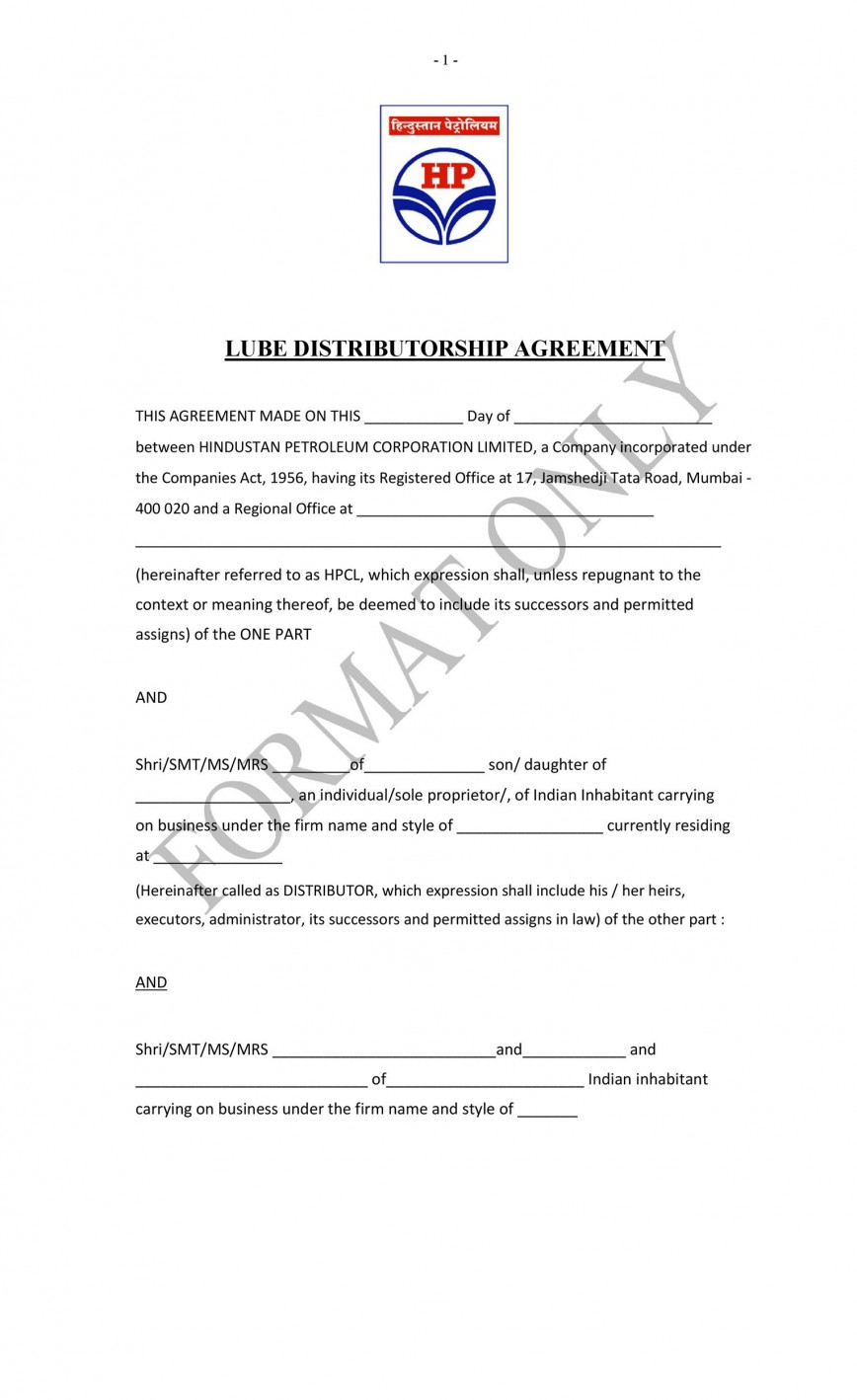 009 Awful Exclusive Distribution Agreement Template Free Download Inspiration 868