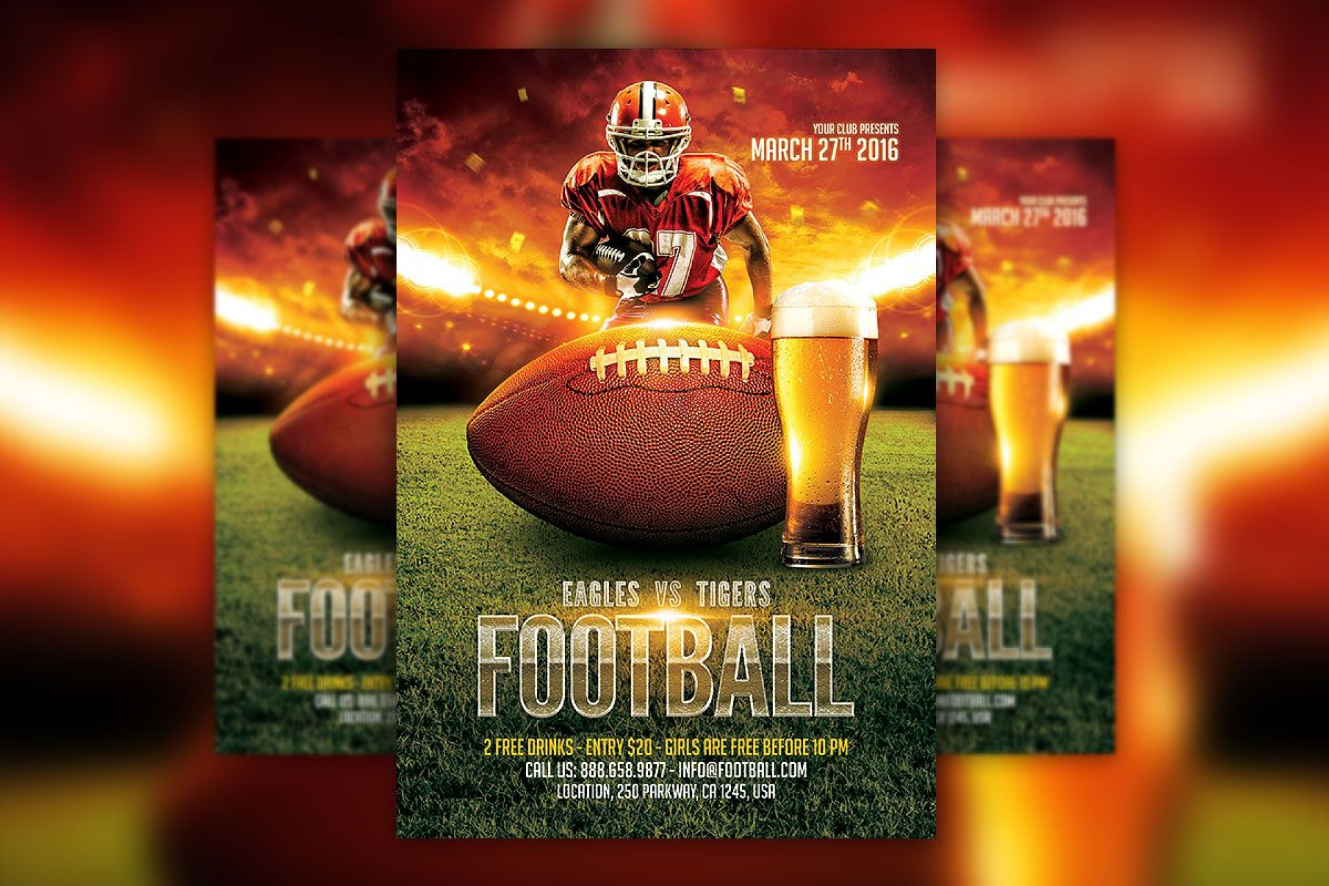 009 Awful Football Flyer Template Free Sample  Download Flag Party1920