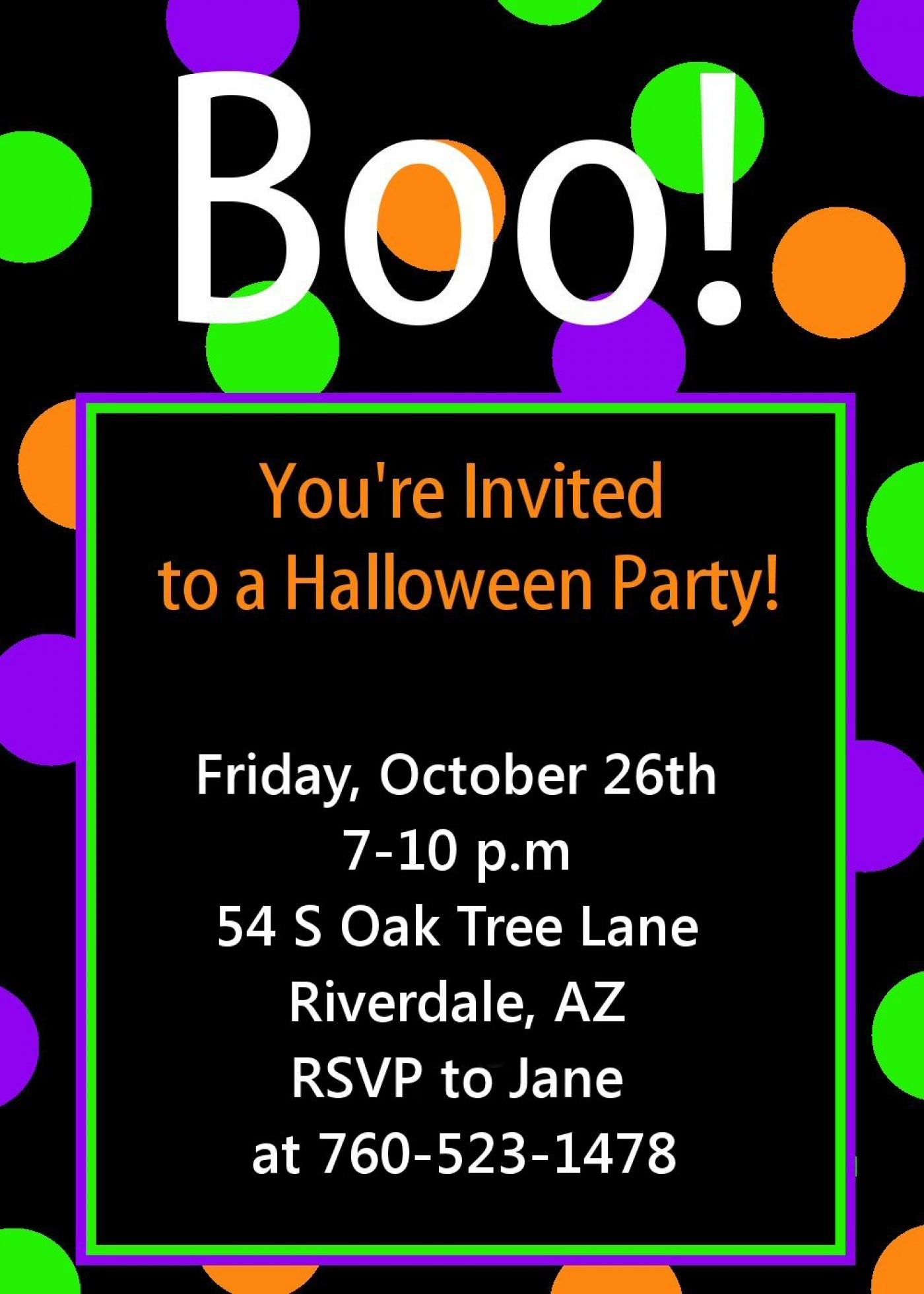009 Awful Free Halloween Party Invitation Template Picture  Printable Birthday For Word Download1400