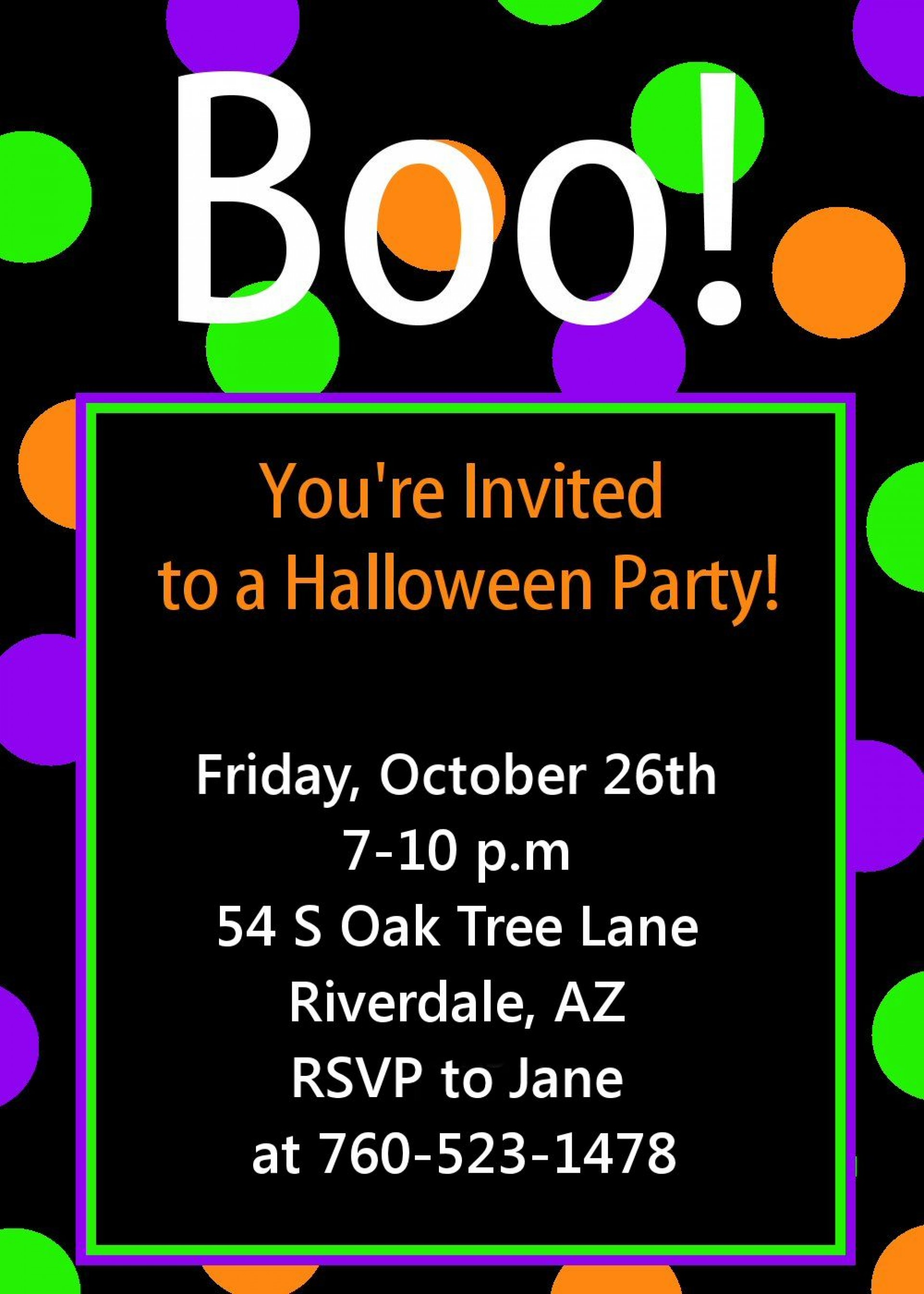 009 Awful Free Halloween Party Invitation Template Picture  Printable Birthday For Word Download1920
