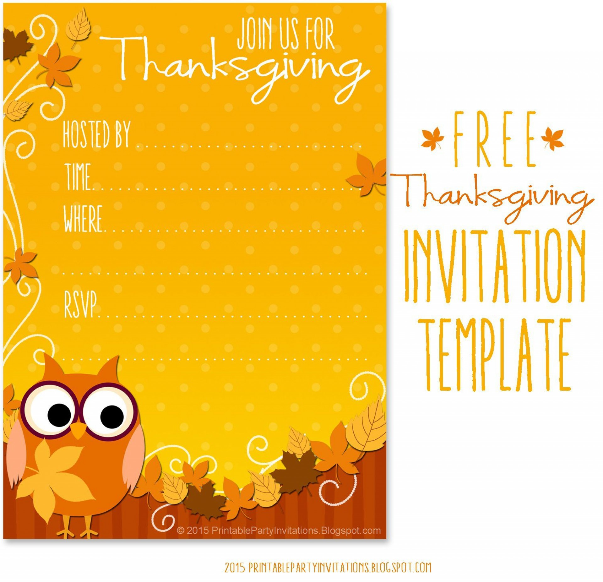 009 Awful Free Thanksgiving Invitation Template Highest Quality  Templates Printable Dinner Download Potluck1920