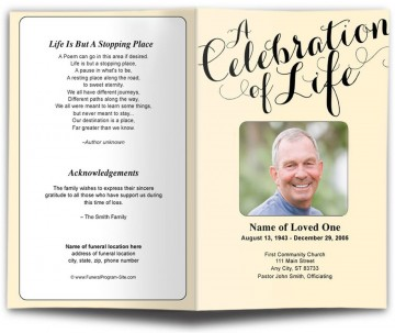 009 Awful Funeral Program Template Free Concept  Printable Design360