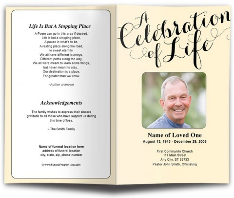 009 Awful Funeral Program Template Free Concept  Printable Design480