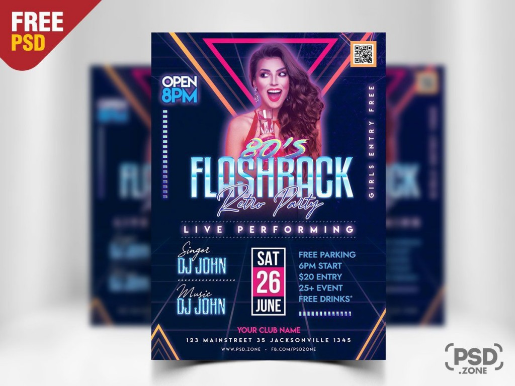 009 Awful Party Flyer Psd Template Free Download Image  RaveLarge