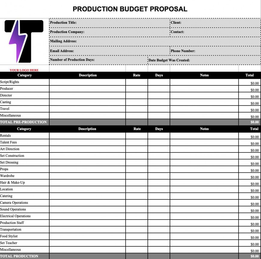 009 Awful Video Production Budget Template Design  Excel Pdf Music