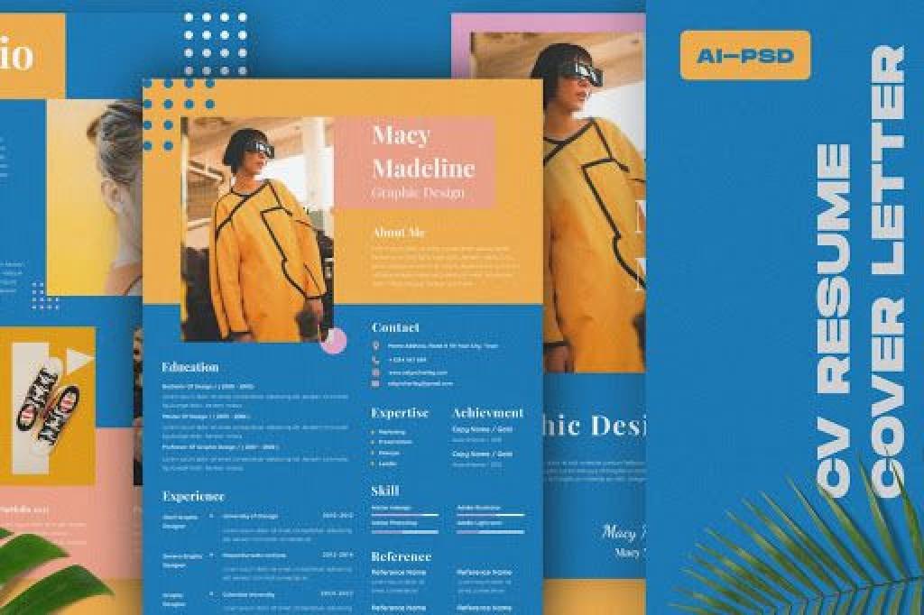009 Beautiful Adobe Photoshop Resume Template Free Photo  DownloadLarge