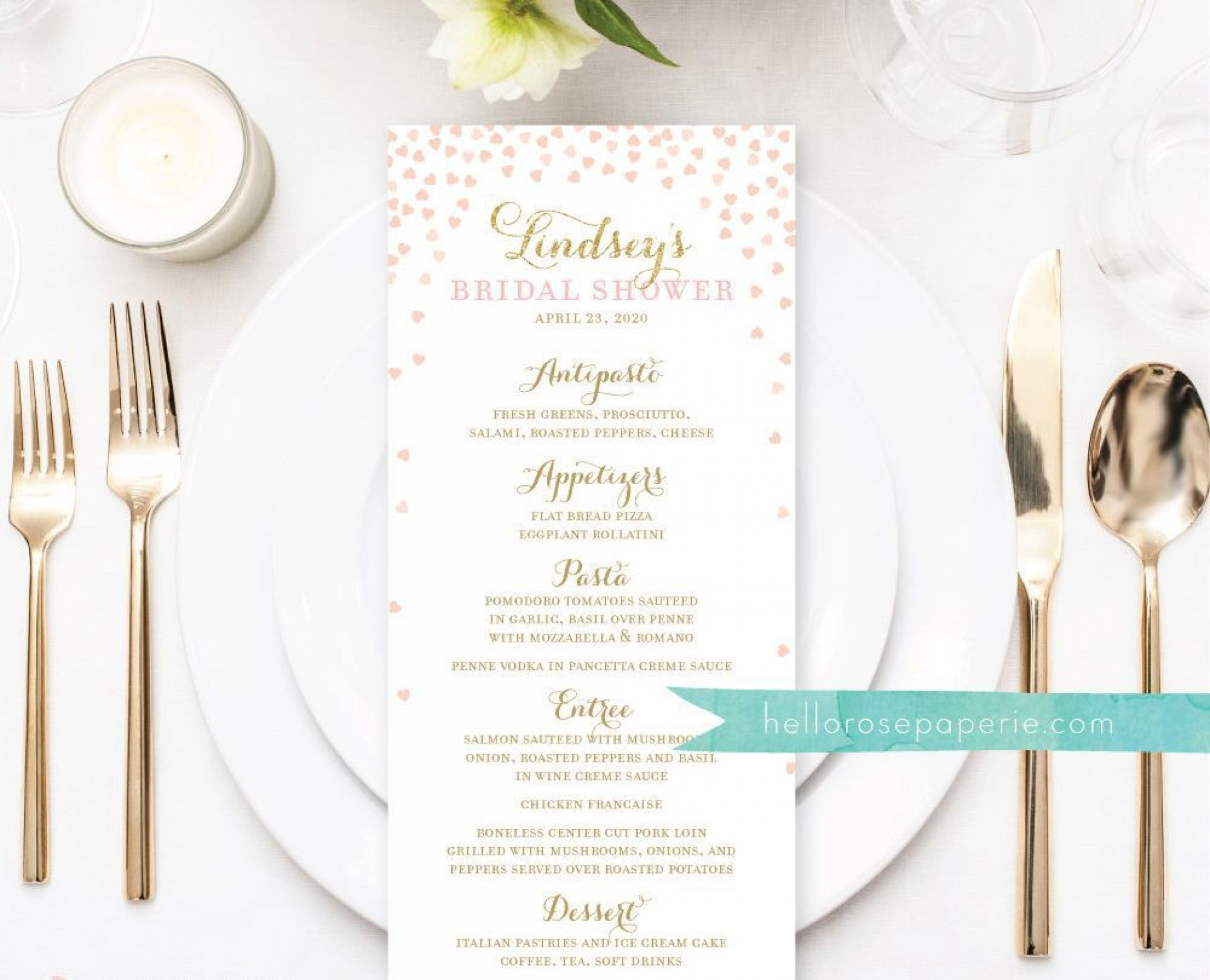 009 Beautiful Baby Shower Menu Template Idea  Templates Lunch Printable Downloadable1920