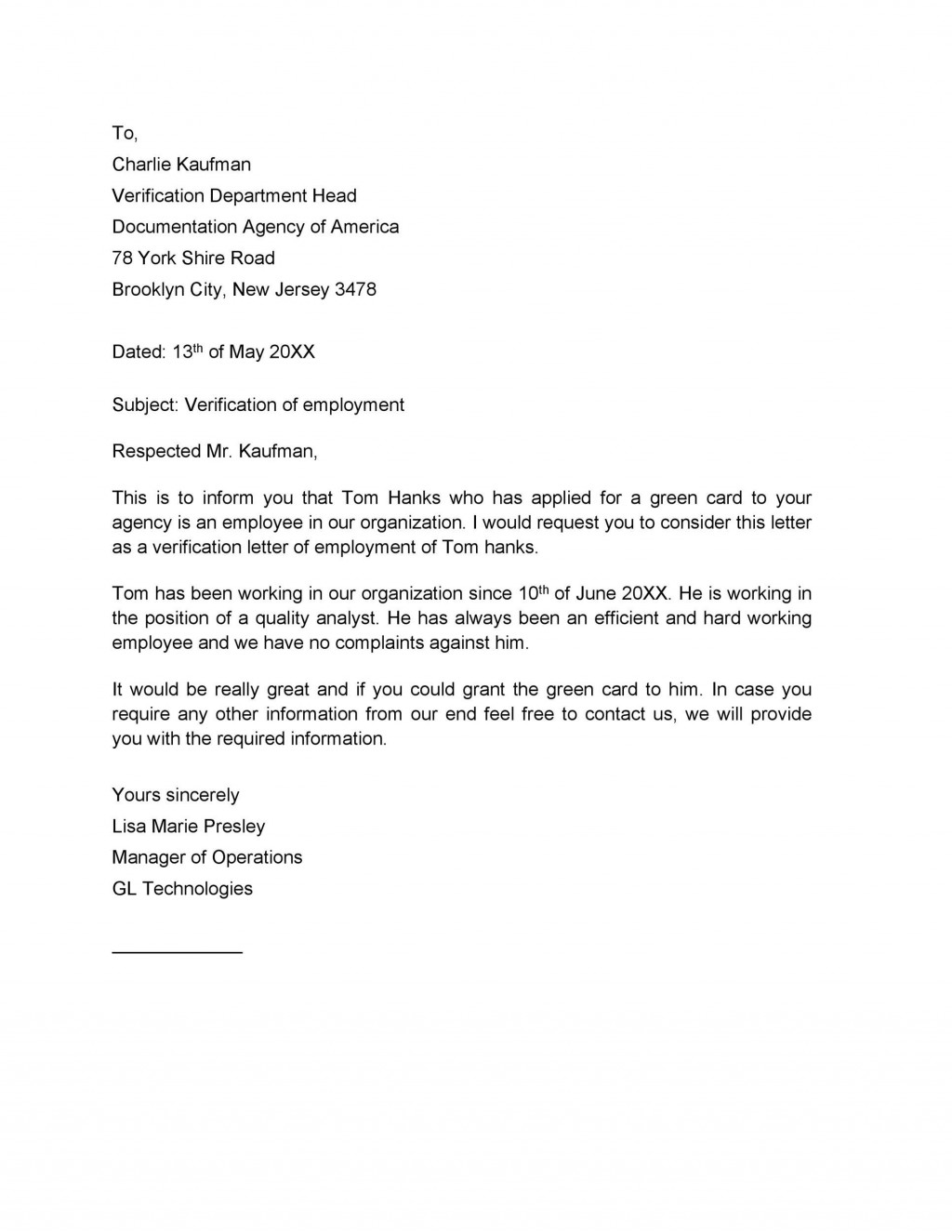 009 Beautiful Employment Verification Letter Template Word Idea  South AfricaLarge