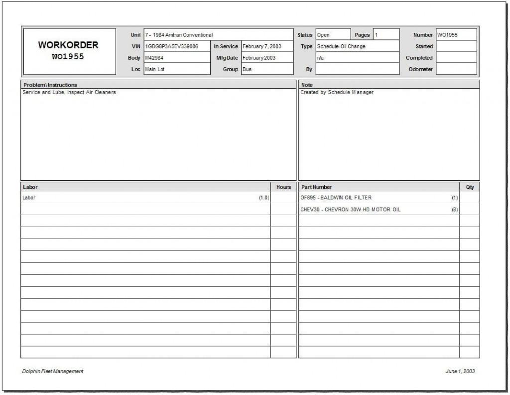 009 Beautiful Excel Work Order Form Image  Forms MaintenanceLarge