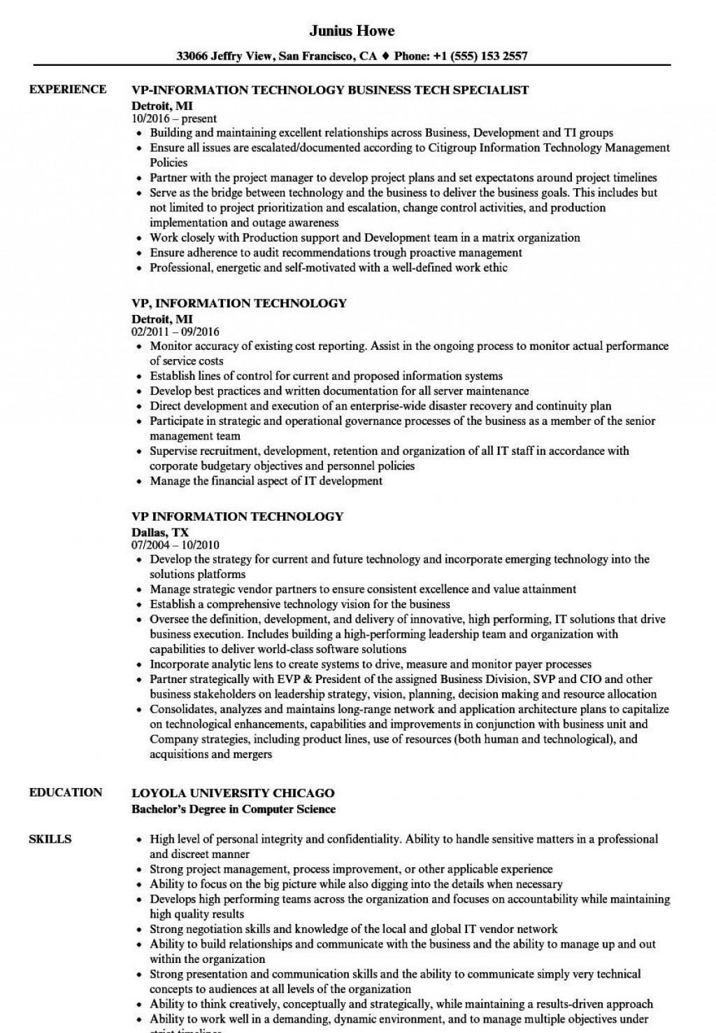 009 Beautiful Information Technology Resume Template Photo  Specialist Free BestLarge
