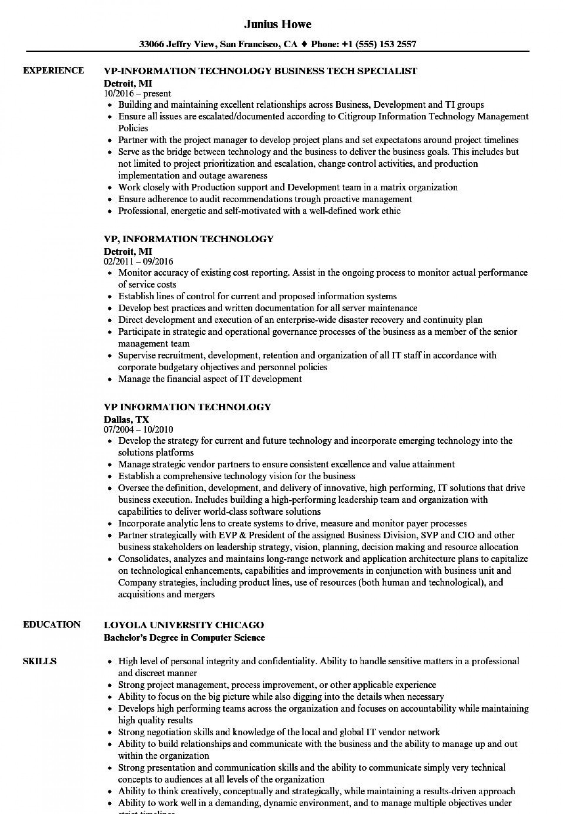 009 Beautiful Information Technology Resume Template Photo  Specialist Free Best1920