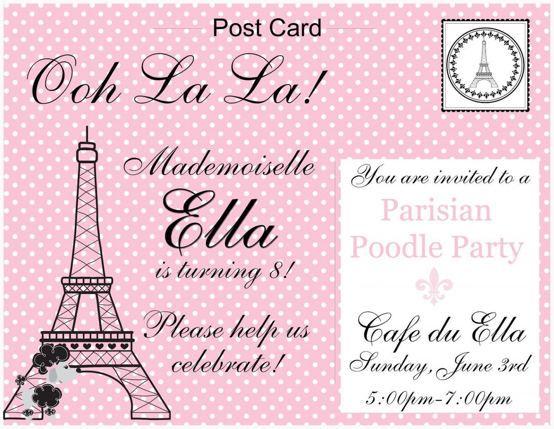 009 Beautiful Pari Birthday Invitation Template Free Picture Full