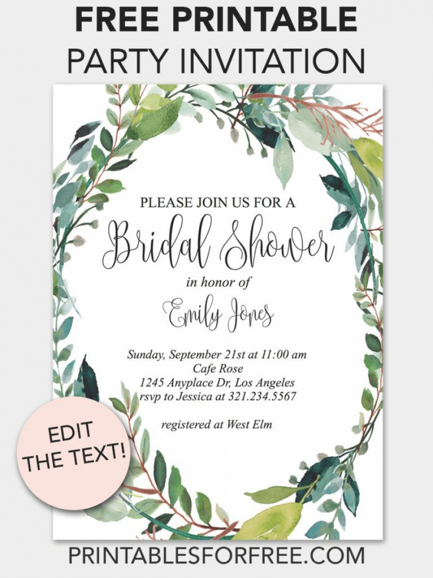009 Best Free Bridal Shower Invite Template High Definition  Printable Invitation For Word Publisher