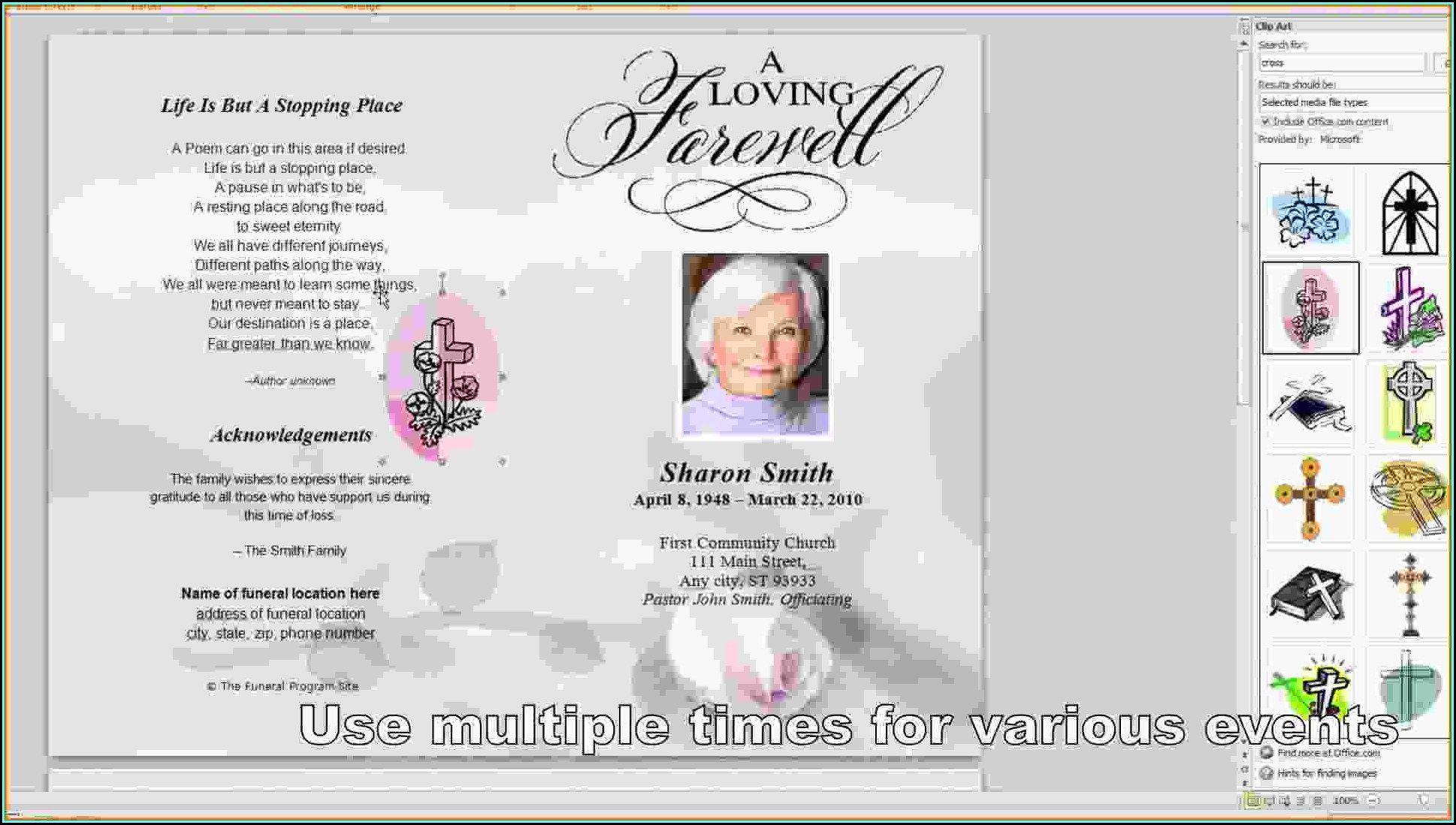 009 Best Free Funeral Program Template Word Highest Quality  Microsoft 2010 Tri FoldFull
