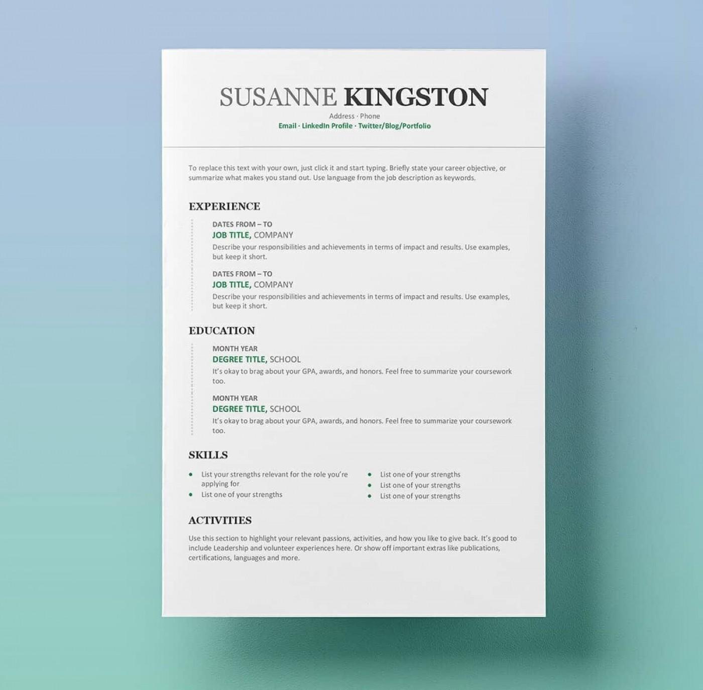 009 Best Free Simple Resume Template Microsoft Word Design 1400