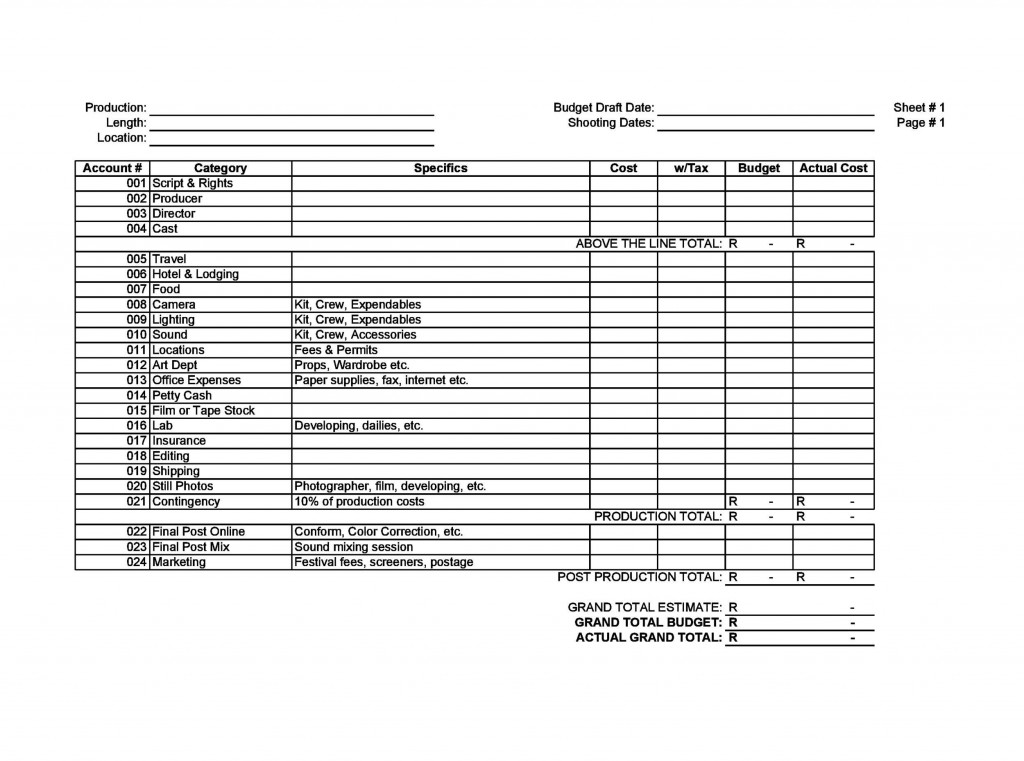 009 Best Line Item Budget Template Film Photo Large