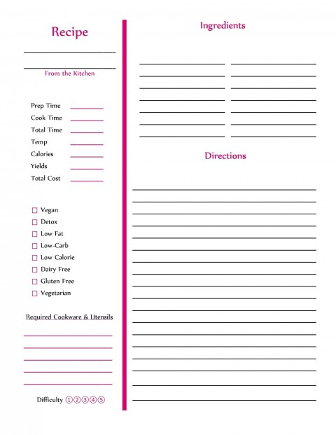 009 Best Make Your Own Cookbook Template Free Sample  Download480