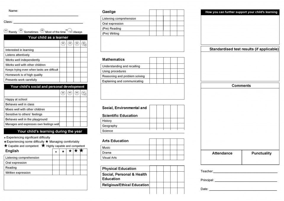 009 Best Middle School Report Card Template Pdf Picture 960