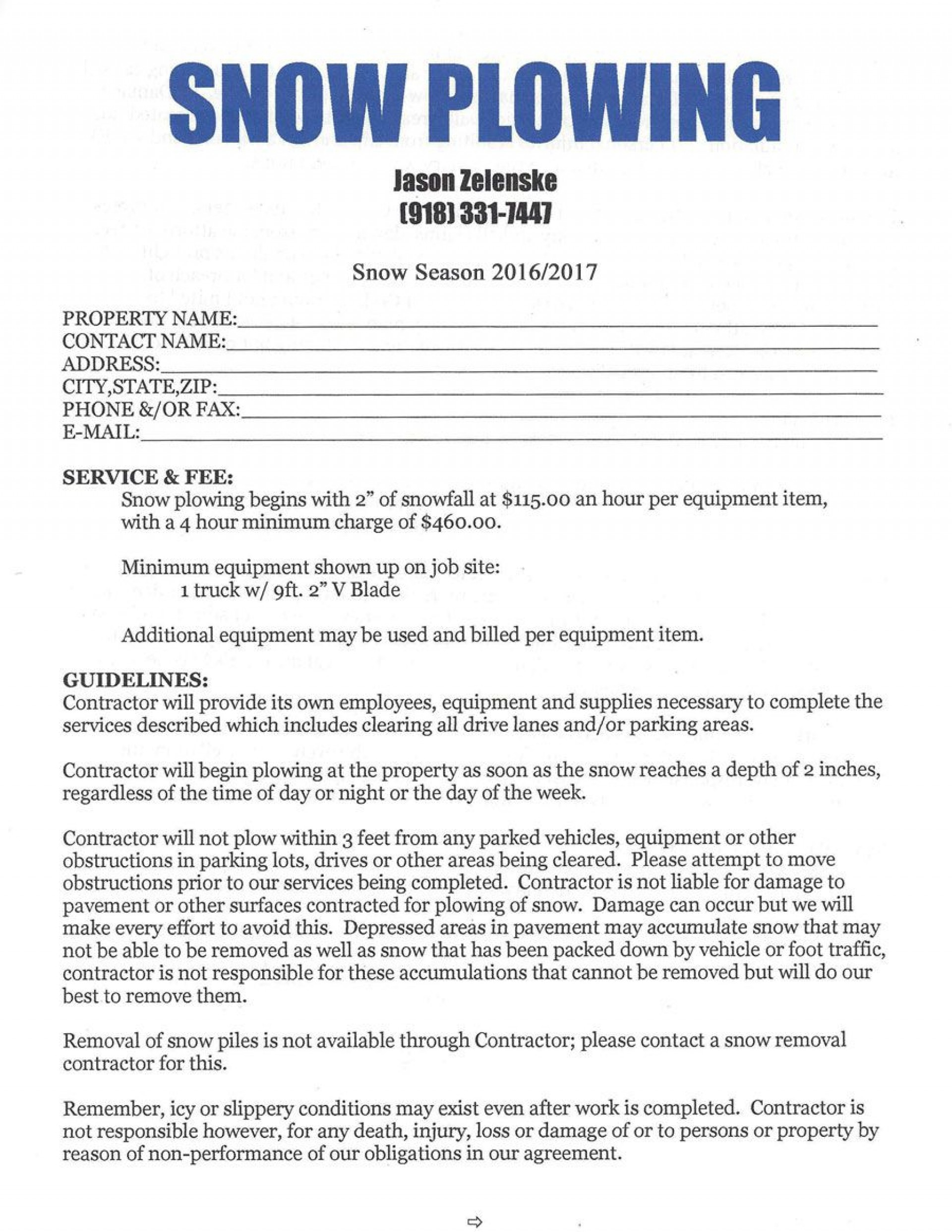 009 Best Snow Removal Contract Template Concept  Templates Free Printable Simple Seasonal Plow Agreement1920