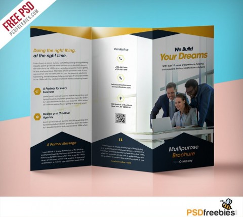 009 Best Three Fold Brochure Template Psd Highest Clarity  Free 3 A4 Tri Download480