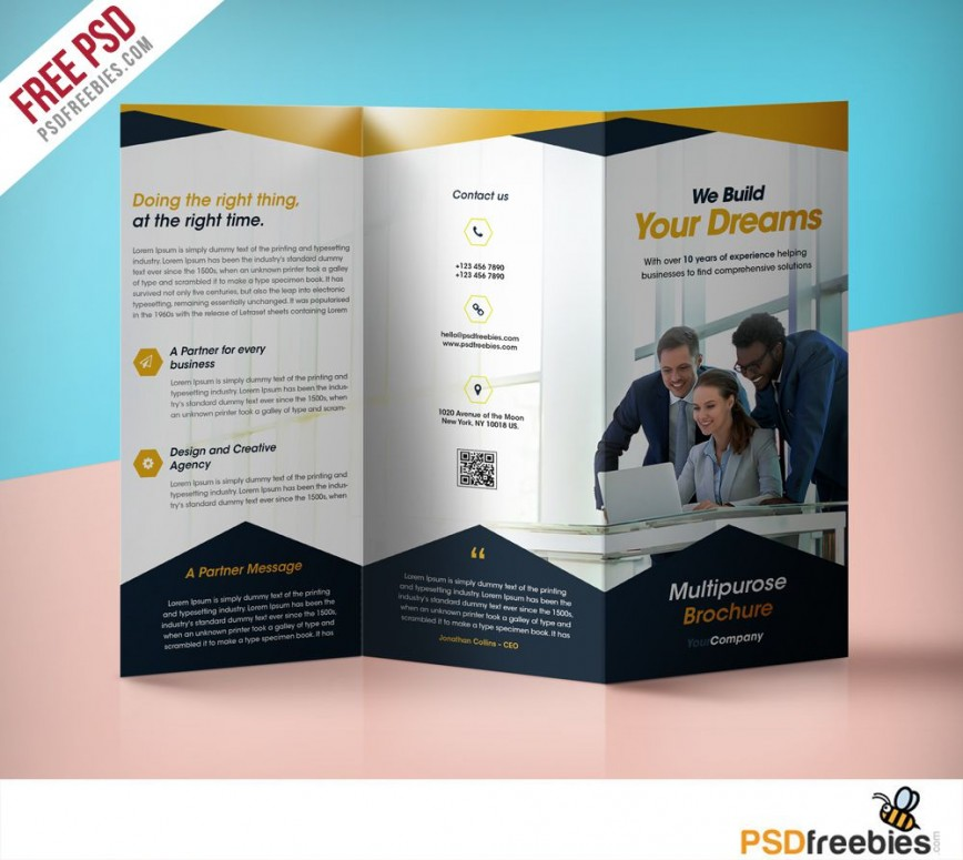009 Best Three Fold Brochure Template Psd Highest Clarity  Free 3 A4 Tri Download868