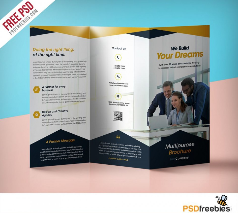 009 Best Three Fold Brochure Template Psd Highest Clarity  Free 3 A4 Tri Download960