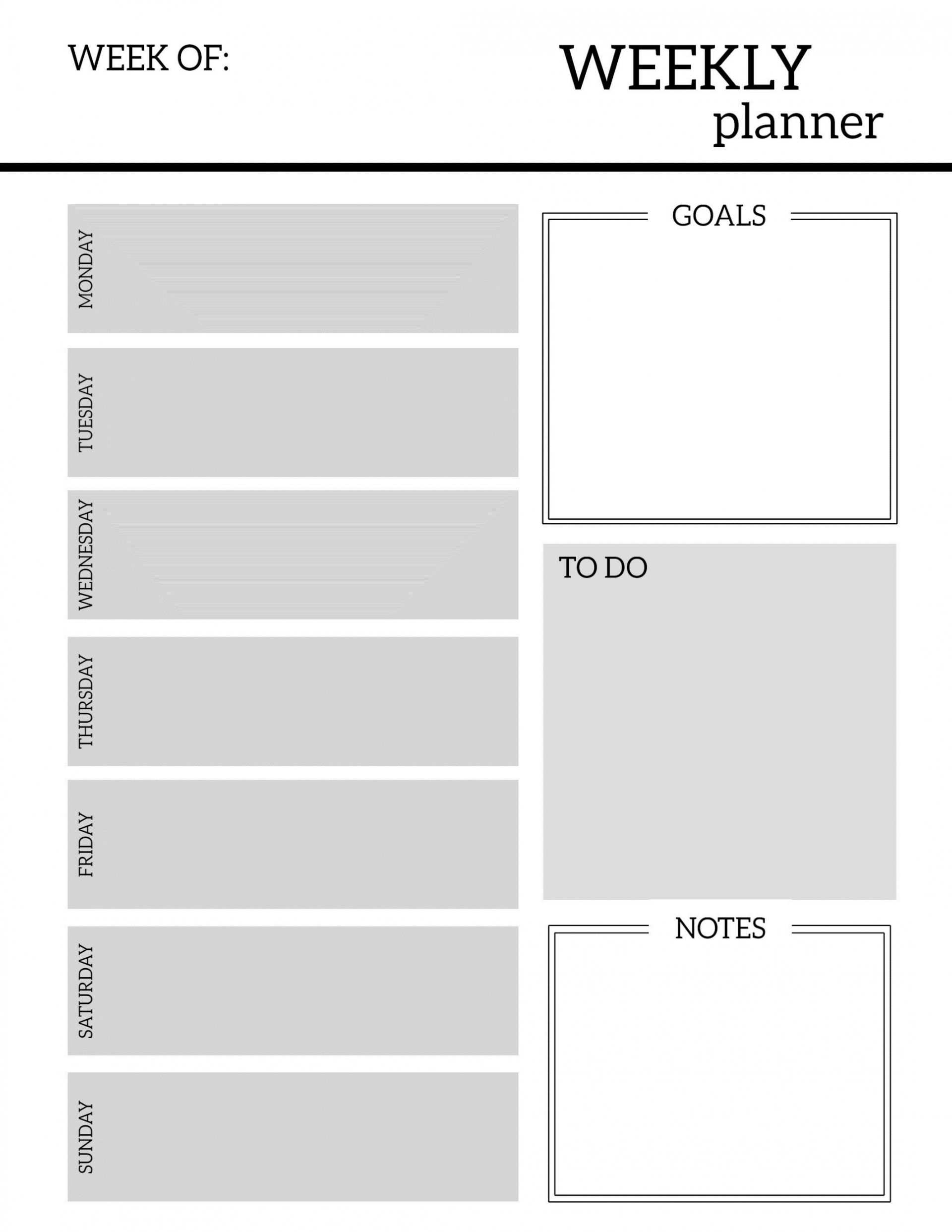 009 Breathtaking Excel Weekly Planner Template 2019 Picture  Holiday1920
