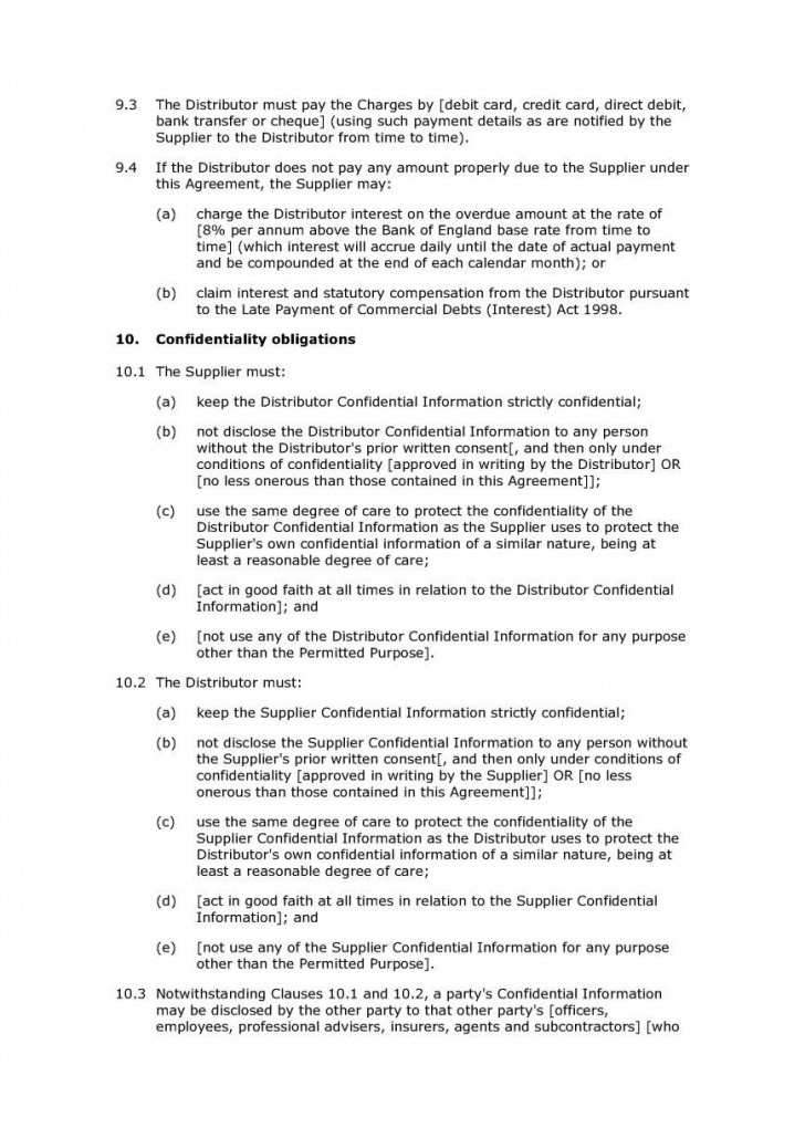 009 Breathtaking Exclusive Distribution Agreement Template Word Inspiration  Format728