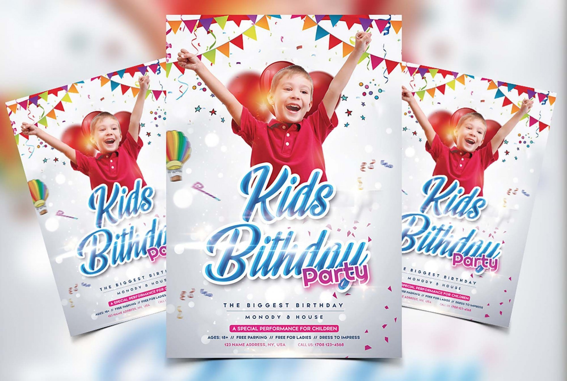 009 Breathtaking Free Birthday Flyer Template Psd Example  Foam Party - Neon Glow Download Pool1920