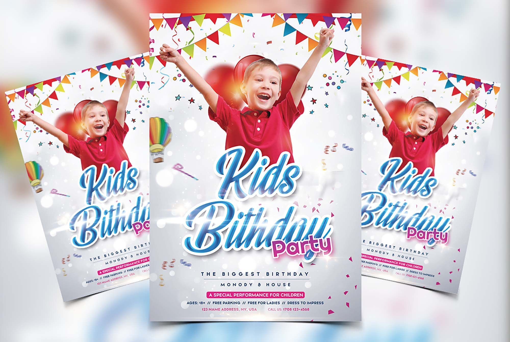 009 Breathtaking Free Birthday Flyer Template Psd Example  Foam Party - Neon Glow Download PoolFull