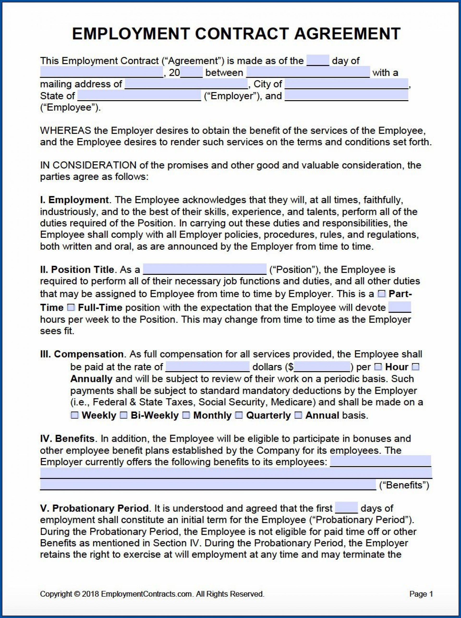 009 Breathtaking Free Employment Contract Template Sample  Templates Bc Temporary South Africa Ireland1920
