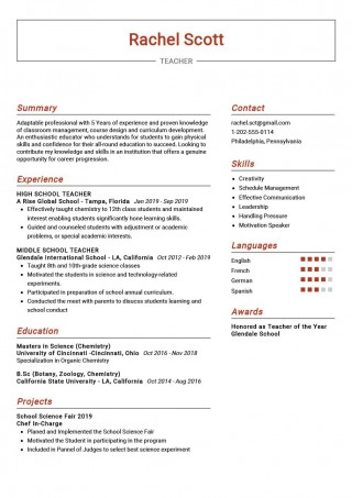 009 Breathtaking Good Resume For Teaching Job High Resolution  Sample With Experience Pdf Fresher In India320