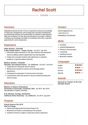 009 Breathtaking Good Resume For Teaching Job High Resolution  Sample With Experience Pdf Fresher In India360
