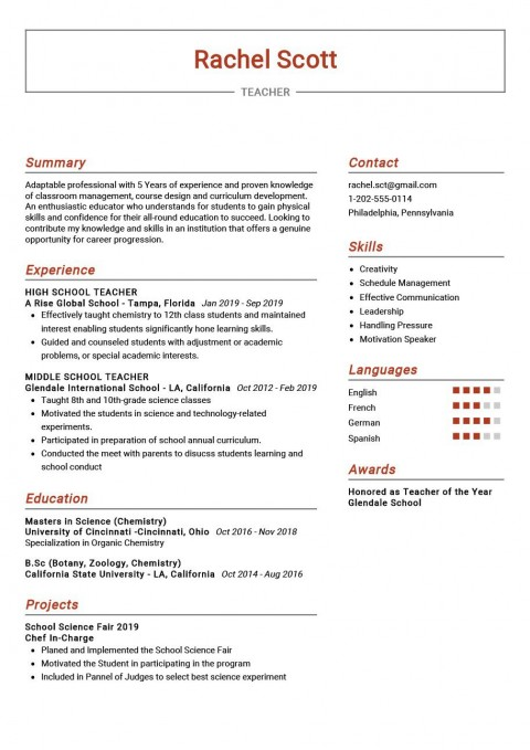009 Breathtaking Good Resume For Teaching Job High Resolution  Sample With Experience Pdf Fresher In India480
