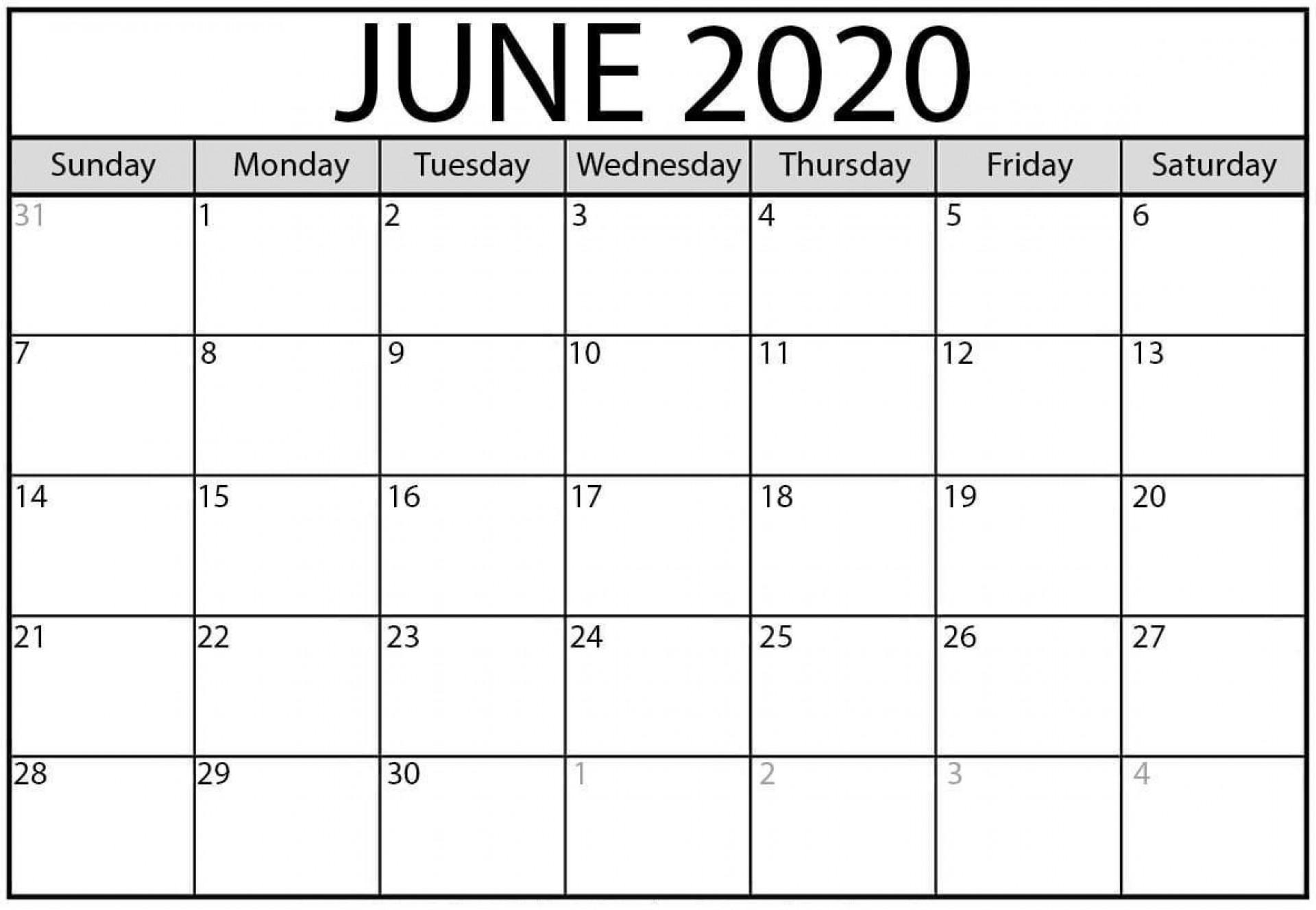 009 Breathtaking June 2020 Monthly Calendar Template Inspiration 1920