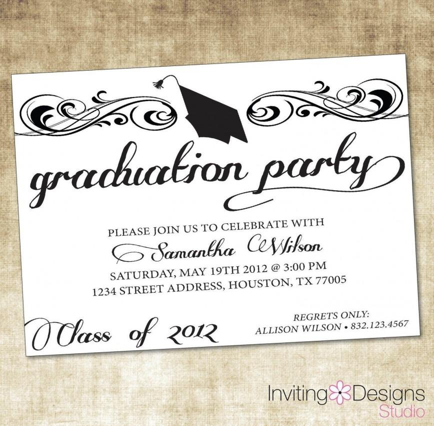 009 Breathtaking Microsoft Word Graduation Invitation Template Design  Party868