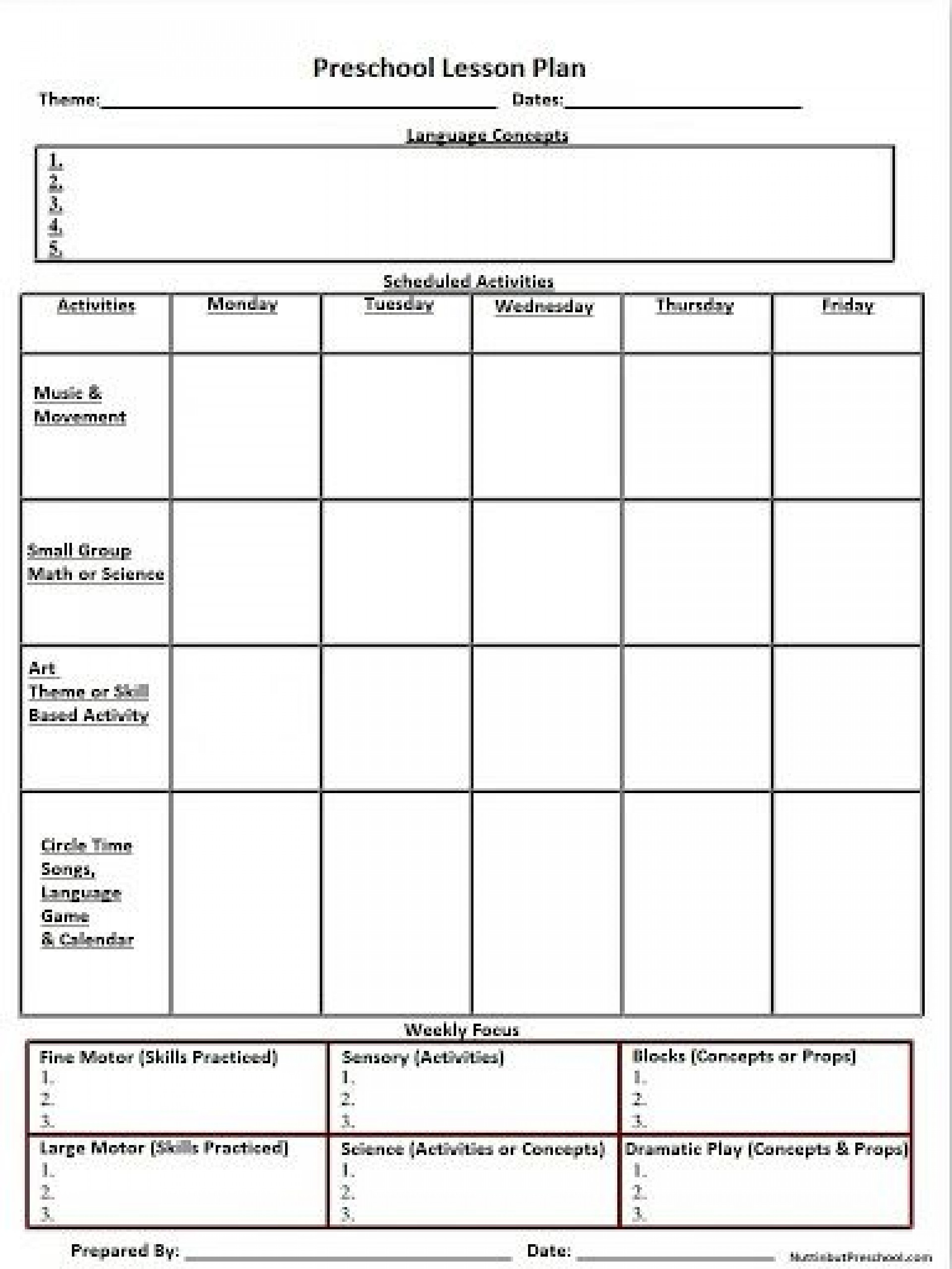 009 Breathtaking Printable Lesson Plan Template Example  Weekly Pdf Free For High School Toddler1920