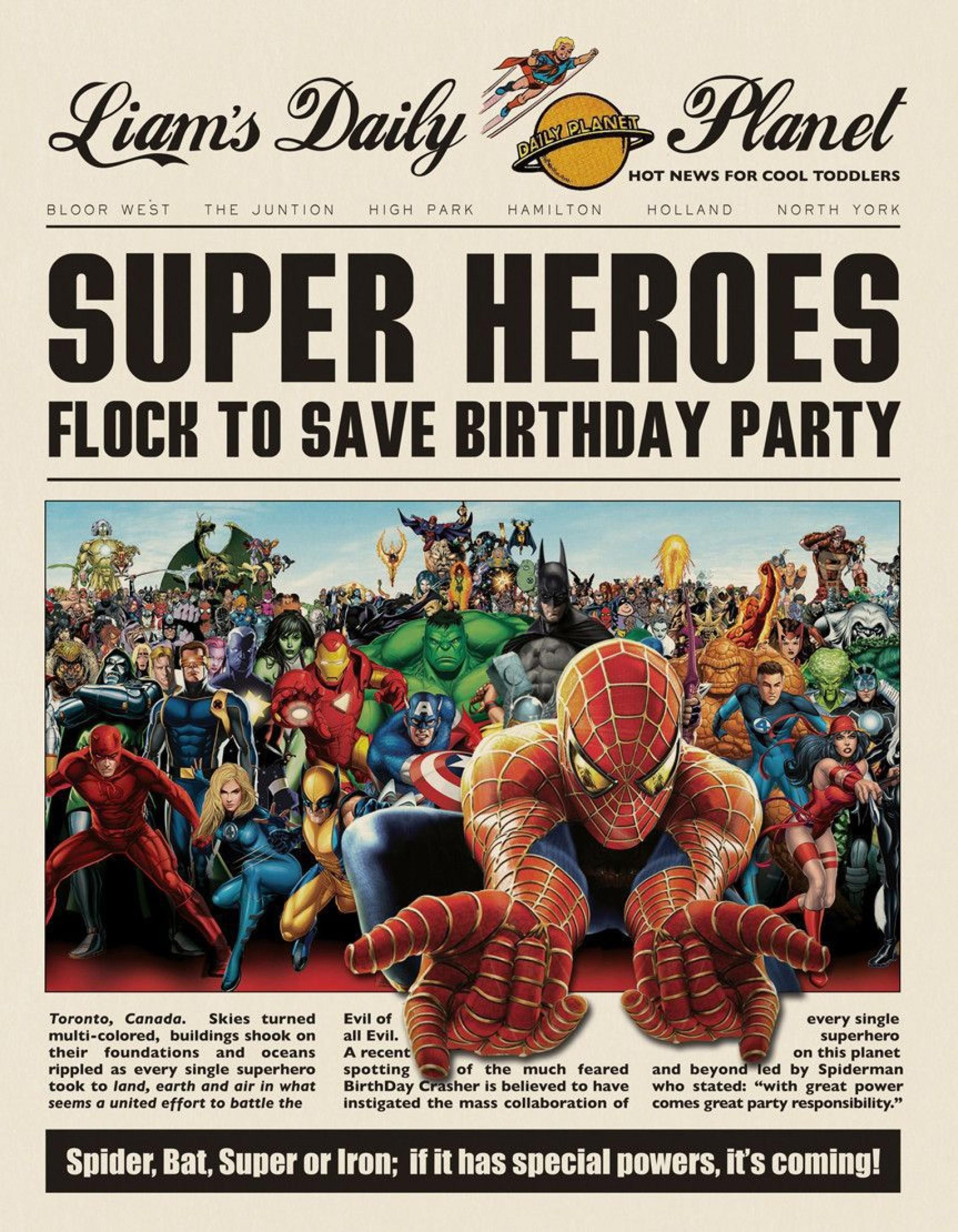 009 Breathtaking Superhero Newspaper Invitation Template Free High Def 1920