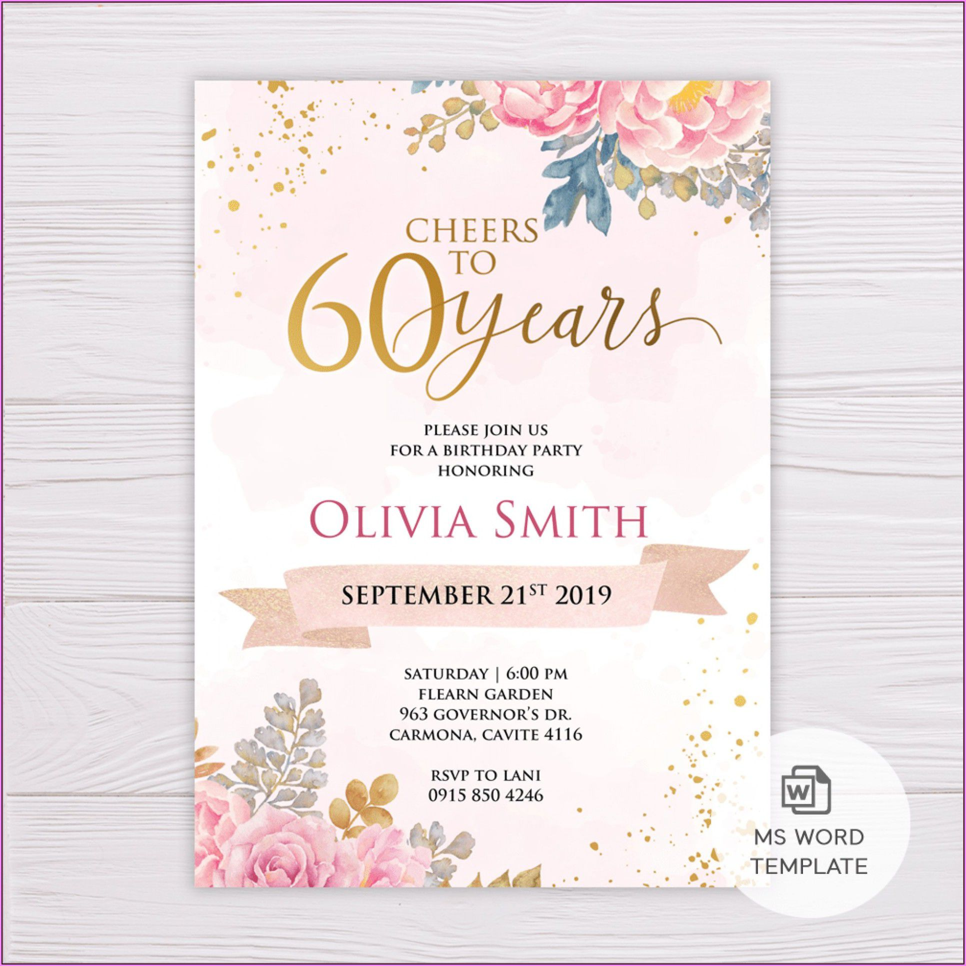 009 Dreaded 60th Birthday Invitation Template High Def  Card Free DownloadFull