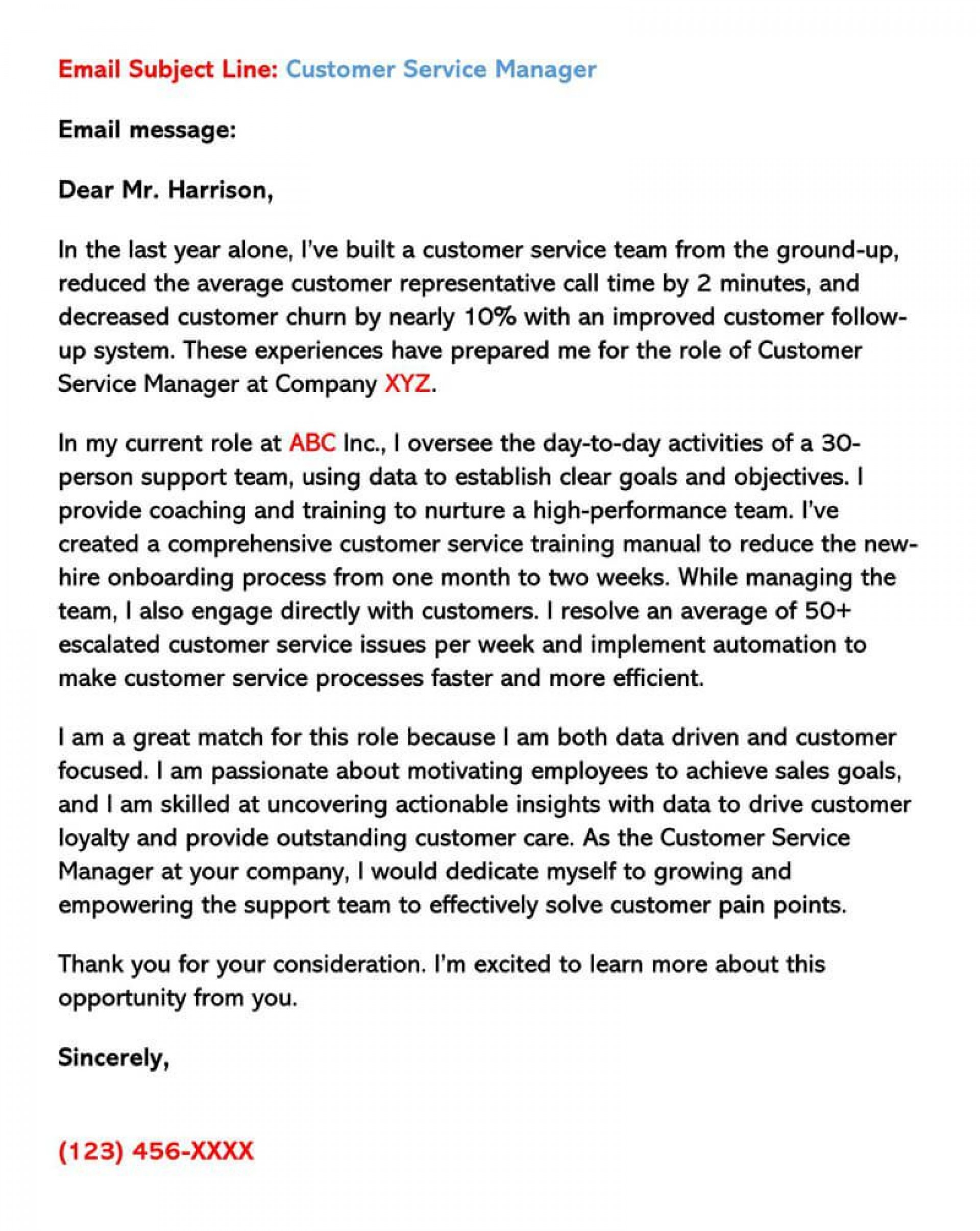 009 Dreaded Email Cover Letter Example For Customer Service Picture  Sample Representative1920
