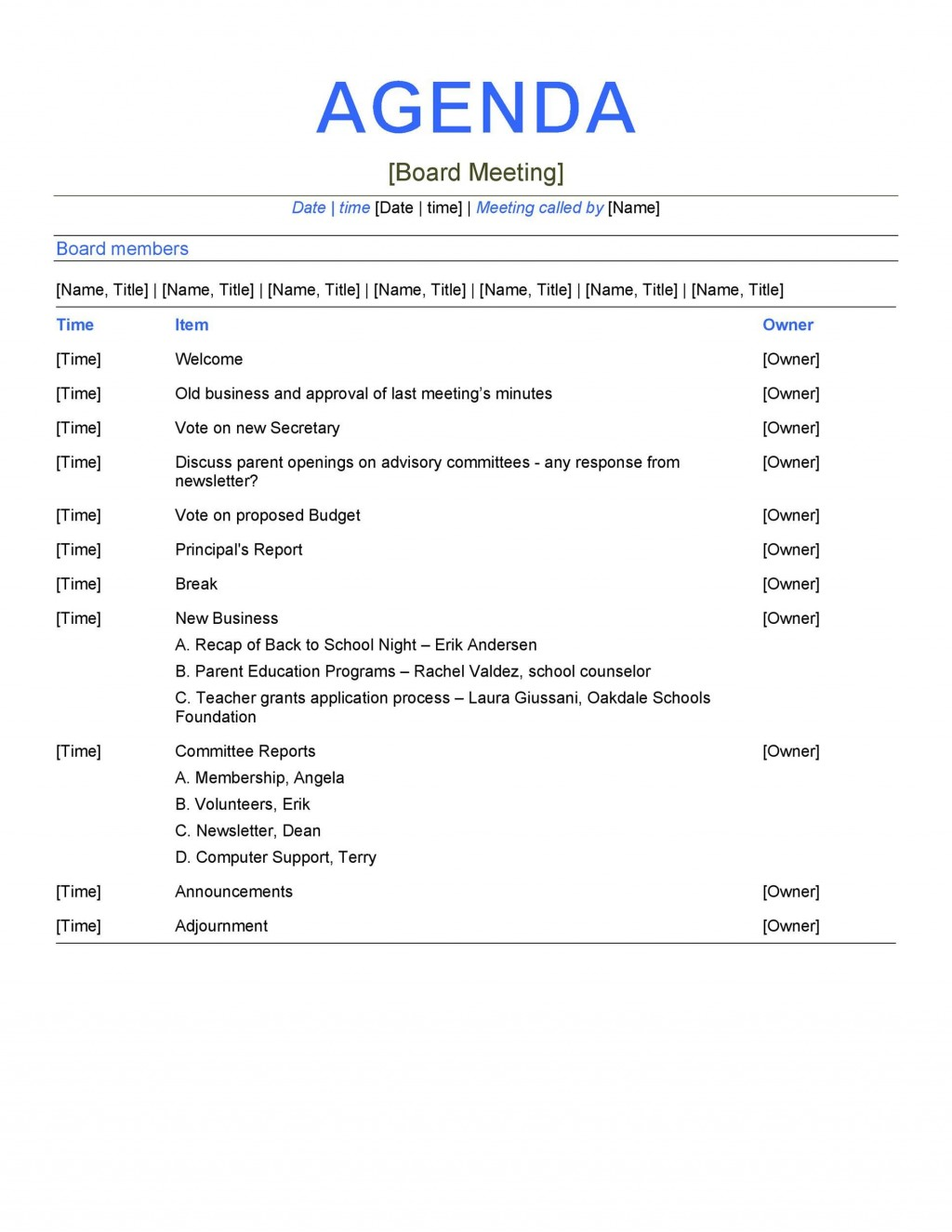009 Dreaded Formal Meeting Agenda Example High Definition  Template Free SampleLarge