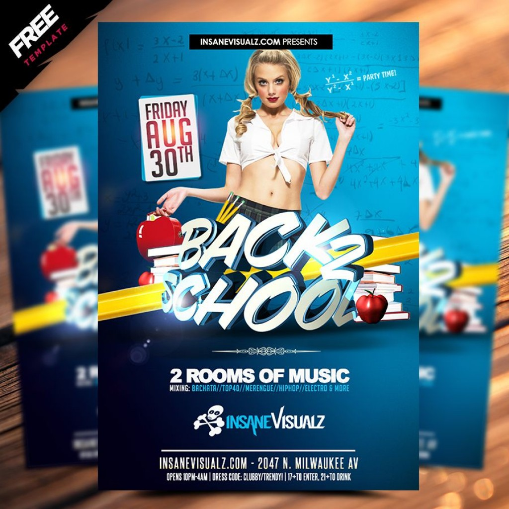 009 Dreaded Free Back To School Flyer Template Psd Design Large
