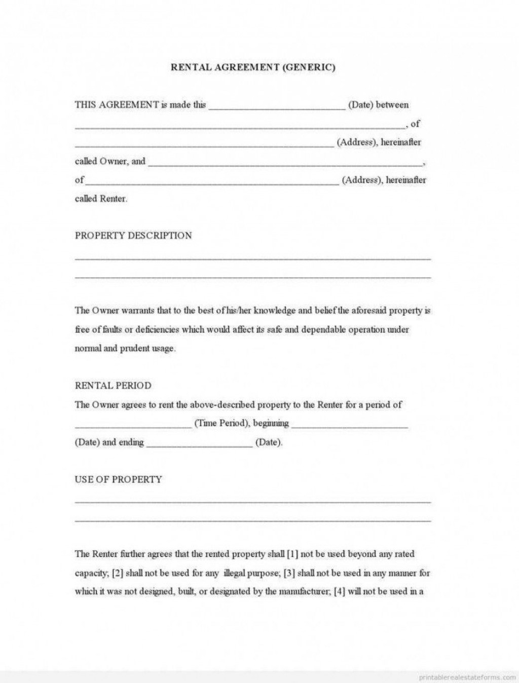009 Dreaded Generic Room Rental Agreement Free High Definition  PrintableLarge